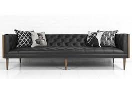 Black Leather Mid Century Sofa Mid Century Sofa In Black Leather Modshop