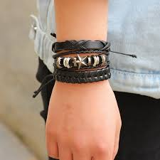 braided leather charm bracelet images Genuine leather braided leather bracelet sets music nation jpg
