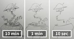 speed drawing challenge asks artists to sketch in 10 mins 1 min