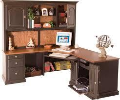 furniture l shape dark brown wooden desk with light brown wooden