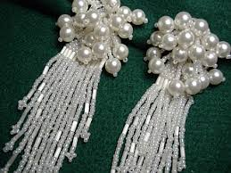 and pearl chandelier vintage costume earrings bridal seed pearl chandelier earrings