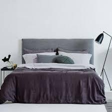 modern designer bronte slipcover linen bed head headboard ash grey