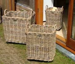 Square Laundry Hamper by Set Of 3 Wheeled Square Grey Log Baskets Roudham Trading