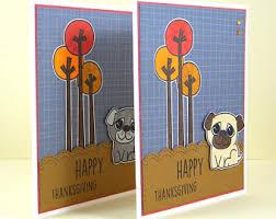 pug thanksgiving card pug card fall pug card pug thank you