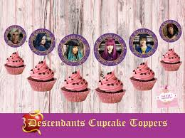 descendants 2 cupcake toppers 6 characters mal evie uma