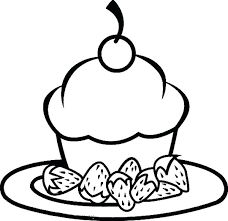 food coloring pages packed with foods cake and strawberry