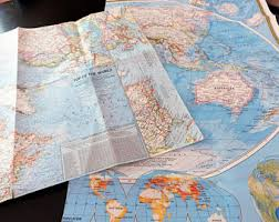 paper maps vintage map etsy