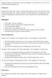 deli clerk resume resume example