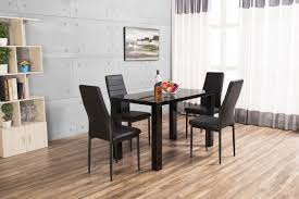 high table with four chairs pivero high gloss black dining table and 4 faux leather chairs