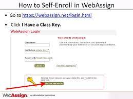 html online class welcome to webassign 1 st day of class how to self enroll in