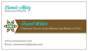 Writer Business Card Travel Writer Connie Motz Travel Writer Check Out My New