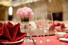 Wedding Table Set Up Chinese Wedding Table Set Up With Wine Glasses Stock Photo