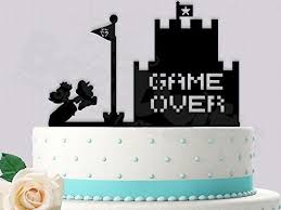 gamer cake topper gaming plumber and princess wedding cake