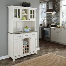 white buffet with two door hutch and stainless top home styles