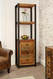 industrial chic narrow bookcase with drawers hampshire furniture