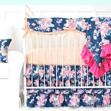 Navy And Coral Crib Bedding S Coral Navy Floral Bumperless Crib Bedding Caden