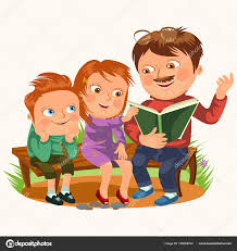 kids reading bench dad read book for childrens in park wooden bench family kids