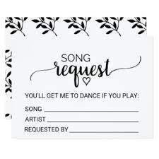 wedding song request cards black dj invitations announcements zazzle