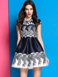 cap sleeve dresses blue cap sleeve floral flare dress abaday