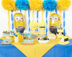 minion baby shower decorations minions party theme etsy