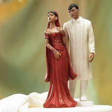 figurine mariage mixte figurine de gâteau mixte banche indien cérémonie de mariage