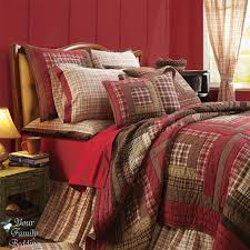 red brown plaid rustic lodge log cabin country home cotton quilt bedding bed set