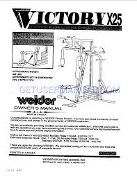 weider home gyms victory x25 owner u0027s manual download free