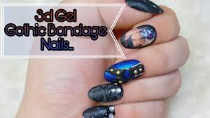 gothic nail art 3d gel nails done easy youtube