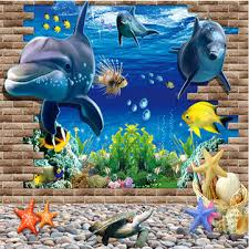 3d blue sea world dolphin removable wall sticker wallpaper home