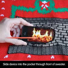 animated crackling fireplace ugly christmas sweaters the green head