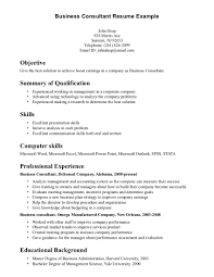 Resume Sample Objective Summary by Business Consultant Resume Example Objective Include Summary Of