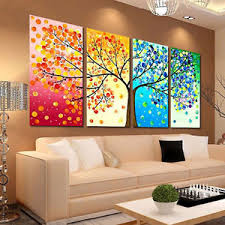 hall painting 4pcs colorful season tree canvas print wall art painting picture