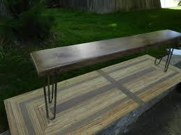 black walnut hairpin leg bench by ed