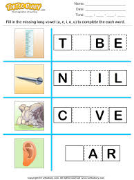 fill in the missing long vowel worksheet turtle diary