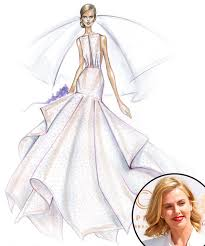 wedding gown sketch by watters for angelina jolie wedding gown