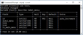 cara membuat database dengan mysql front membuat menu dinamis pada template adminlte dan codeigniter