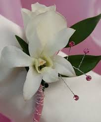 Orchid Boutonniere White Sweetheart Rose And White Orchid Boutonniere Pink