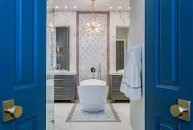 Houston Interior Designers by Master Bathroom Renovation Gold Gray U0026 Cobalt Spring Valley