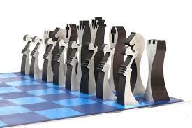 aluminum chess set 1970s surfing cowboys