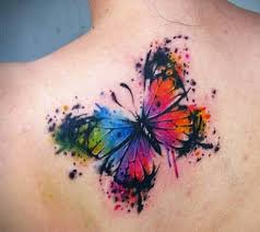 awesome watercolor butterfly on back