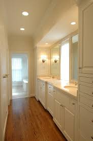 galley bathroom design ideas galley style master bathroom ivory damask wallpaper oak