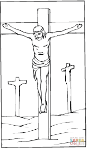 jesus crucified on the cross coloring page free printable