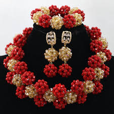 costume jewelry necklace sets images Fantastic red gold big crystal balls statement necklace set jpg
