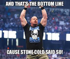 Cold Shoulder Meme - and that s the bottom line cause stone cold said so make a meme