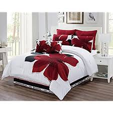 Red And Grey Comforter Amazon Com 12 Piece Burgundy Red Black White Floral Bed In A
