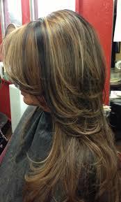 partial red highlights on dark brown hair dark hair with carmel highlights dark hair with caramel