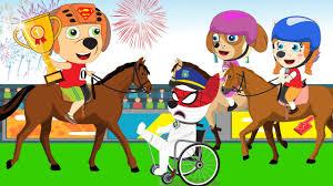 cartoon paw patrol vs friend horse racing failed and crying