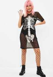 halloween mesh skeleton t shirt dress black missguided