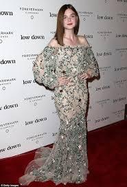 elle fanning wears floral peasant dress to low down premiere