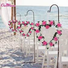 Cheap Beach Decor For Home Beach Wedding Car Decoration Heart Rose Wreath Door Wall Hanging